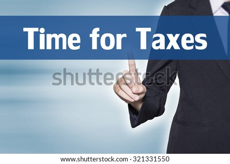 Time for Taxes Business woman pointing at word for business background concept - stock photo