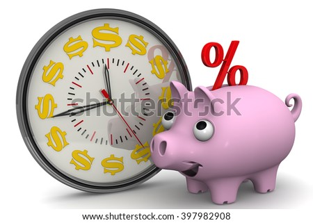 Time - interest on bank deposits. Analog Clock with symbols of the US currency and piggy bank with a red percent symbol on a white surface. Financial concept. 3D illustration. Isolated - stock photo