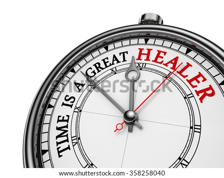 Time is a great healer red wisdom on concept clock, isolated on white background