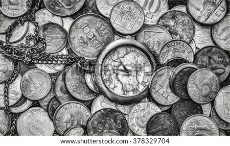 Time is money, a bunch of coins with a pocket watch on top, top view - Charcoal digital illustration art work - stock photo
