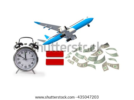 time is money, airplane, flight, clock time, equal to money dollars , 3d rendering