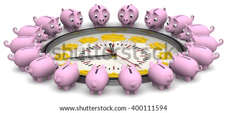Time is money. Analog Clock with symbols of the US currency and piggy banks located around the clock on a white surface. Financial concept. 3D Illustration. Isolated - stock photo