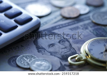 Time is money. Blue Tone. Close up  - stock photo