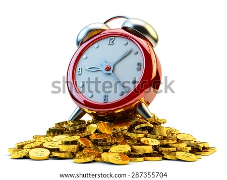 Time is money, bring home bacon, earn, raise and make money concept, red alarm clock at the heap of gold coins isolated on white background - stock photo