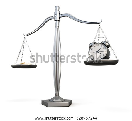 Time is money. Business concept. Watch and money on scales. 3d illustration. - stock photo