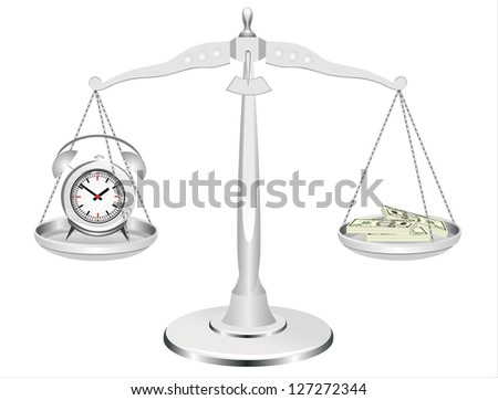 time is money, clock and money on scales - stock photo