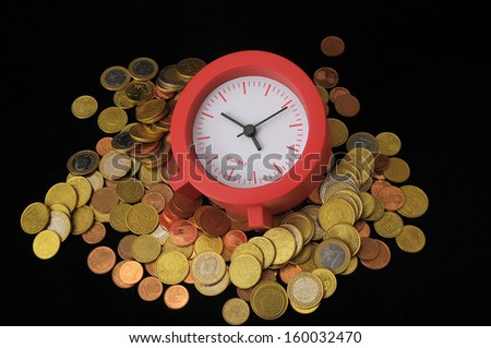 Time is Money Concept a Clock and Currency - stock photo