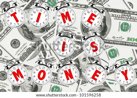 Time is money concept. Alarm Clock on a money background - stock photo