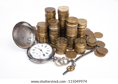 Time is money concept.  Coins and an old pocket-watch. - stock photo