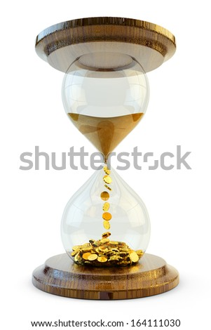 Time is money concept. Hourglass with a sand symbolizing time turning into the gold coins isolated on white. - stock photo