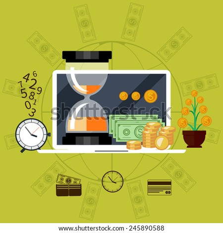Time is money concept laptop with icons in flat design. Raster version - stock photo