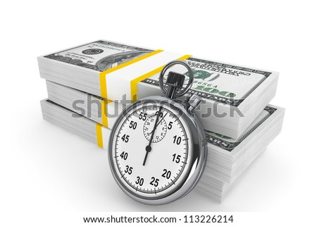 Time is money concept. One hundred dollars and Stopwatch on a white background - stock photo