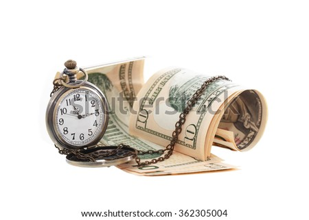 Time is money concept. Pocket watch near USA bank notes - stock photo