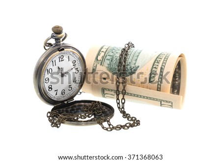 Time is money concept. Pocket watch near USA bank notes