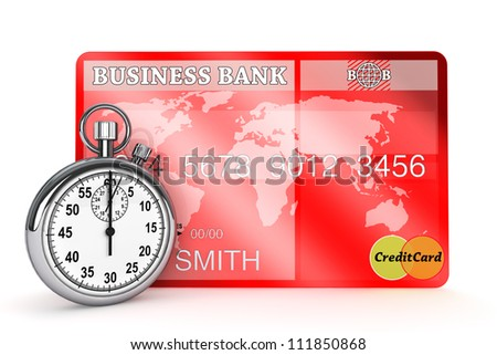 Time is Money concept. StopWatch with Credit Card on a white background - stock photo