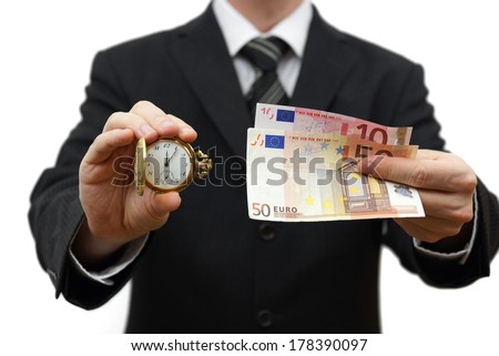 time is money concept with businessman with money and pocket watch