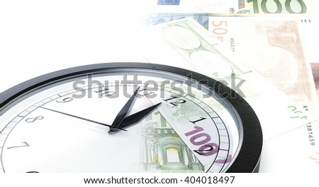 Time is money concept with clock and bank notes