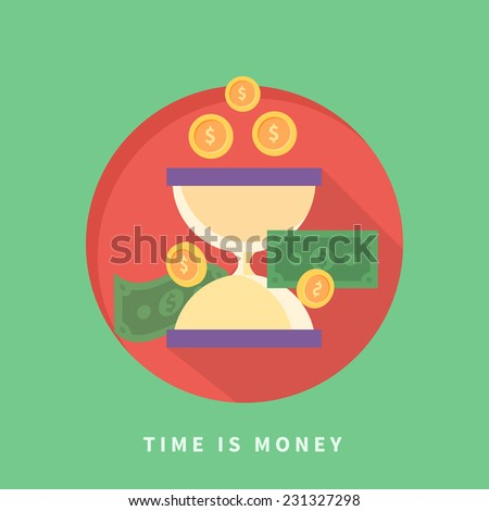 Time is money concept with icons in flat design. Raster version - stock photo