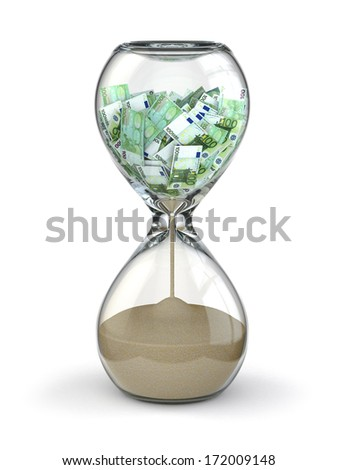 Time is money. Inflation. Hourglass and euro. 3d - stock photo