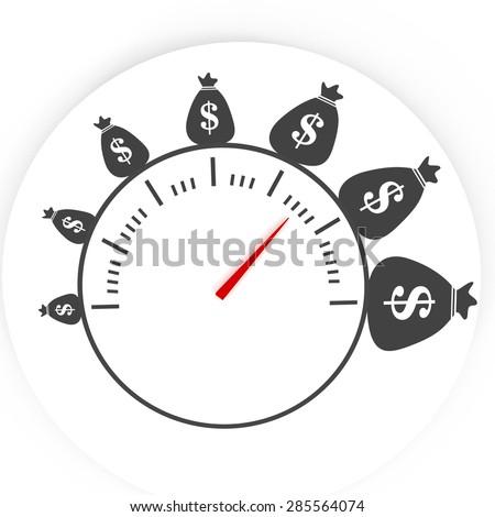 time is money, money bag success - stock photo