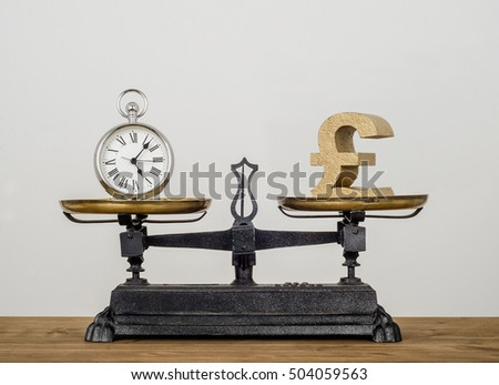 Time is money. Old pocket watch and Pound symbol on antique vintage balance scales.