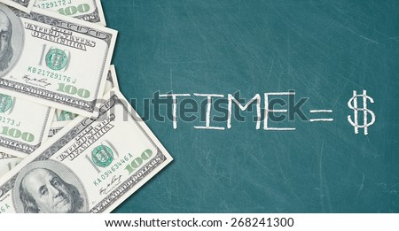 TIME IS MONEY text on a green chalkboard with border made of 100 US dollars.  - stock photo