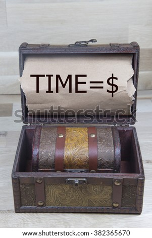 time is Money  written on the brown torn paper in the treasury box