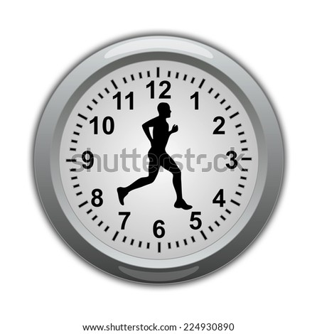 Time is Running, men and clock - Illustration - stock photo
