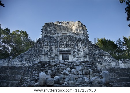 time-lapse of the mayan ruins at xpujil, mexico. the mayans believe that transformative events will occur on 21 december 2012 - stock photo