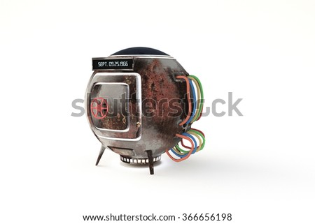 time machine capsule isolated on white background - stock photo