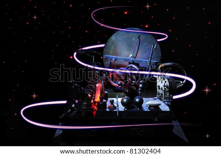 Time Machine in the dark space with red light trails