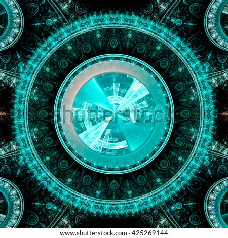Time Machine. Mechanism and gear galactic hours. Infinity. Eternity. Mysterious psychedelic relaxation wallpaper. Sacred geometry. Fractal abstract pattern. Digital artwork creative graphic design.