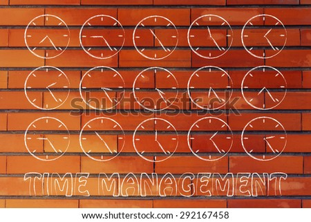 time management and hours passing by: series of clocks showing the hours of the day passing by - stock photo