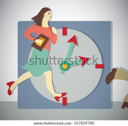 Time management business woman run. Color illustration.
