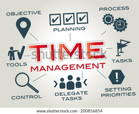 Time management. Chart with keywords and icons - stock photo