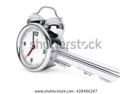 Time Management Concept. Alarm Clock as Key on a white background. 3d Rendering