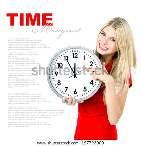 time management concept. five to twelve. young beautiful woman with big clock on white background with sample text - stock photo