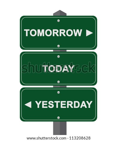 Time Management Concept Present By Green Street Sign Pointing to Tomorrow, Today and Yesterday Isolated On White Background - stock photo