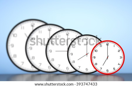 Time Management Concept. Round Modern Office Clocks on a blue background