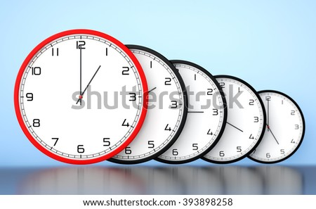 Time Management Concept. Round Modern Office Clocks on a blue background - stock photo