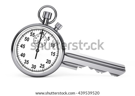 Time Management Concept. Stopwatch as Key on a white background. 3d Rendering - stock photo