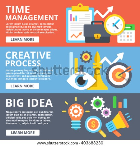Time management, creative process, big idea set. Creative modern flat design concept for web banners, web sites, printed materials, infographics. Flat illustration - stock photo