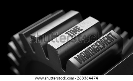 Time Management on the Metal Gears on Black Background.  - stock photo