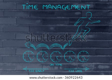 time management: person running on clocks while on a hurry and being late