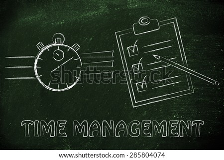 time management: stopwatch and completed task list