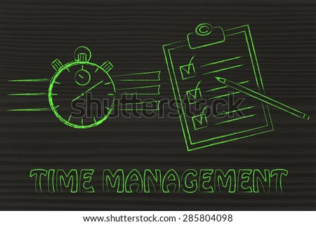 time management: stopwatch and completed task list - stock photo
