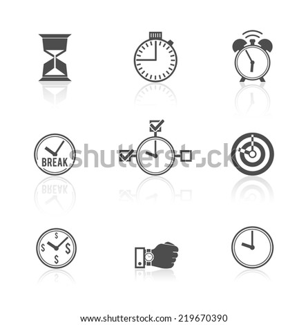Time management strategy concept alarm clock watch hourglass pictograms symbols icons set abstract black isolated  illustration
