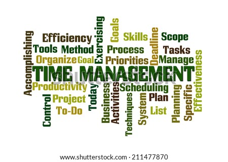 Time Management Word Cloud on White Background - stock photo