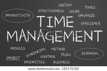 Time management word cloud written on a chalkboard - stock photo