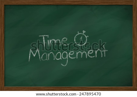time management words on green chalkboard - stock photo